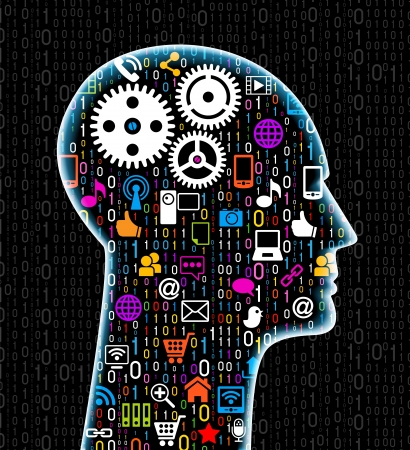 social network, communication in the global computer networks. silhouette of a human head with an interface icons. File is saved in AI10 EPS version. This illustration contains a transparency    Stock Vector - 18540626