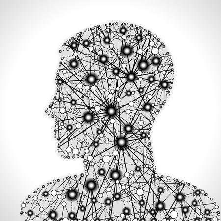 nervenzelle: Molekularstruktur in Form eines menschlichen Kopfes. Kommunikation zwischen den Zellen. Die Datei ist in AI10 EPS-Version gespeichert. Diese Abbildung enth�lt eine Transparenz Illustration