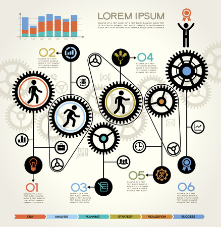 gears: Modern Business Concept , Info Graphic Elements. The idea of teamwork and success