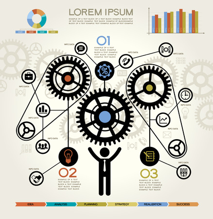 business process: Modern Business Concept , Info Graphic Elements. Man Inserting a Cog Into Series. Complete the Process