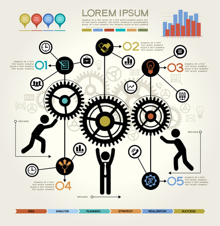 team cooperation: Modern Business Concept , Info Graphic Elements. The idea of teamwork and success