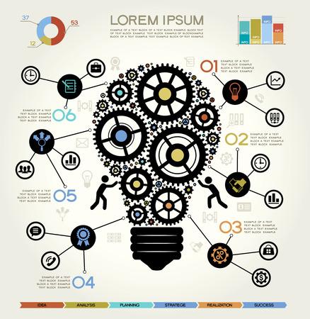 business communication: Modern Business Concept , Info Graphic Elements. Idea Lightbulb Solution.