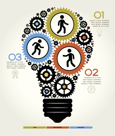 engineering: Modern Business Concept , Info Graphic Elements. Idea Lightbulb Solution.