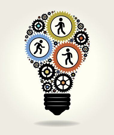 men at work sign: Gears and people icons form the shape of light bulbs. concept of effective teamwork. The file is saved in the version AI10 EPS. This image contains transparency.