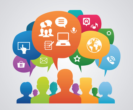 social media: The concept of communications of people in the global network. A number of avatars of people with speech bubbles and interface icons