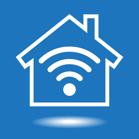 home network: Smart house icon. White symbol on a blue background. The file is saved in the version AI10 EPS. This image contains transparency.