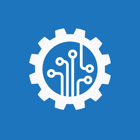gear symbol: Gear with chip. Flat design style. White symbol on a blue background. White symbol on a blue background. The concept of automatic process. The file is saved in the version AI10 EPS.