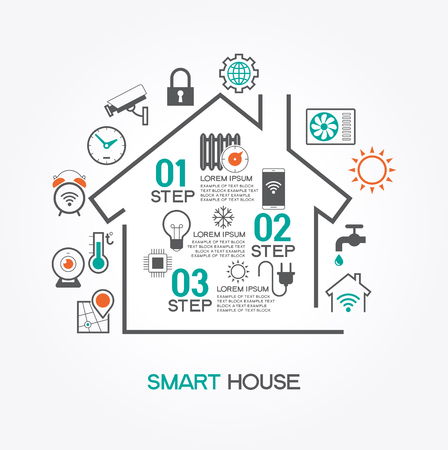 security safety: Smart home control concept. Smart house infographic. Concept home with technology system.