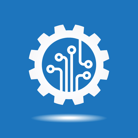 gear symbol: Gear with chip. Flat design style. White symbol on a blue background. White symbol on a blue background. Illustration