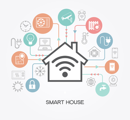 Smart home control concept. Smart house infographic. Concept home with technology system. Reklamní fotografie - 71967223