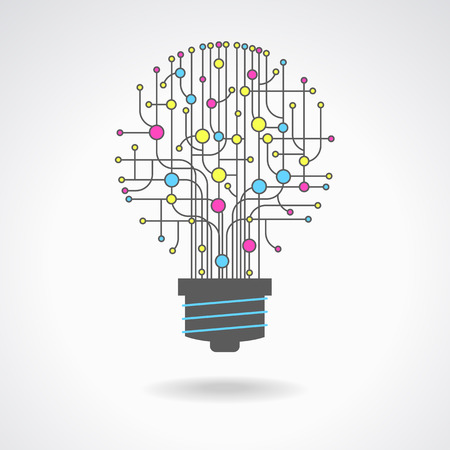 idea lamp: Light bulb idea icon with circuit board inside. Business idea concept. Lamp formed by chip connectors.