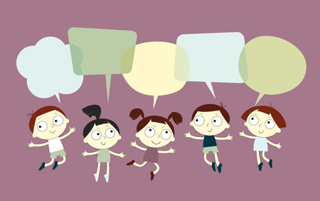 saved: Background with the image of funny kids and speech bubble. School background. Blank template. Sketch cartoon. File is saved in 10 EPS version.