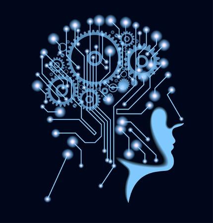 Tecnología del futuro. Cerebro Cibernético. Ciberespacio electrónico. Inteligencia artificial. Ciberespacio electrónico. Inteligencia artificial. Foto de archivo - 73273963