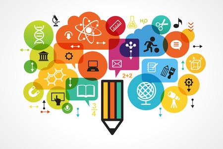 psicologia infantil: El concepto de educación moderna. Plantilla con el lápiz rodeado por los iconos de la ciencia y de la educación en círculos brillantemente coloreados. La generación del conocimiento. El archivo se guarda en la versión 10 EPS. Vectores