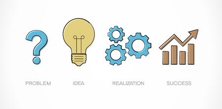 Vraagteken, lamp, tandwielen en grafiek. Doodle vector illustratie. Weg tot succesconcept. Het bestand is opgeslagen in de versie 10 EPS. Stock Illustratie