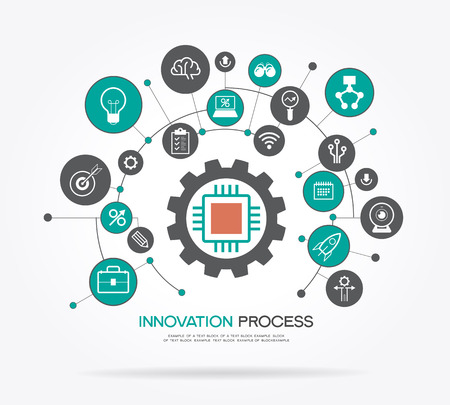 Artistic design of a innovation process strategy. Infographic template. Modern flat design concept for web banners, web sites. The file is saved in the version AI10 EPS.