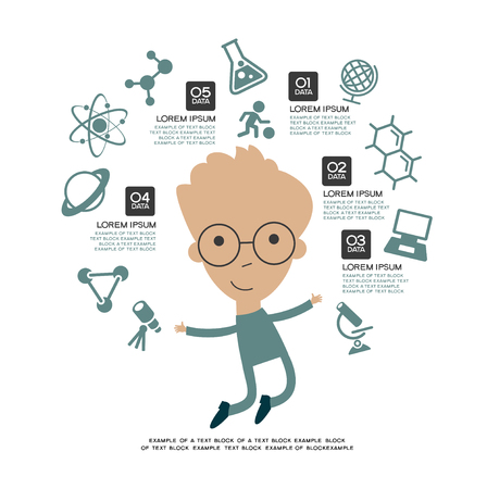 successful student: Learning infographic Template. Concept  education. Child with a book surrounded by icons of education.