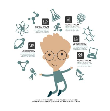 Lernen infografische Vorlage. Konzeptbildung. Kind mit einem Buch umgeben von Ikonen der Bildung. Vektorgrafik