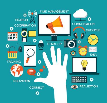 modernization: Man offers automation modernization integration business concept. Gear  arrow  network; sign. Integrated tech upgrade smart device service network, communication cloud safety technology. Illustration