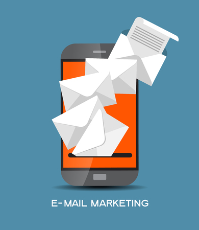 global communication: The concept of electronic mail. Marketing design. Modern design computer and an envelope surrounded by colored glass of icons.