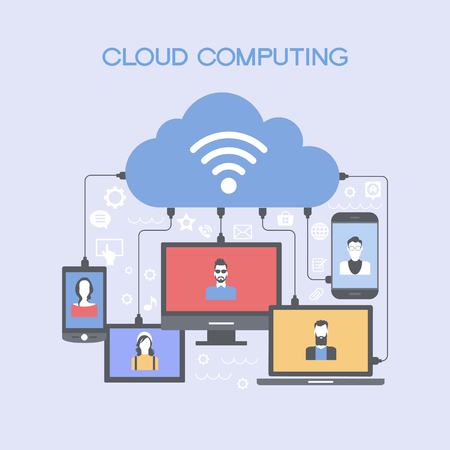 global communication: Watches, computer, mobile phone, laptop connected to the cloud.