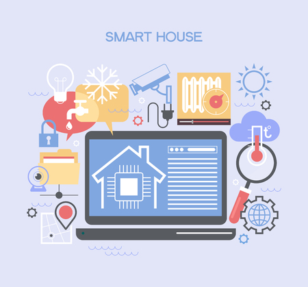 camera symbol: Smart home control concept. Smart house info-graphic. Concept home with technology system. Illustration