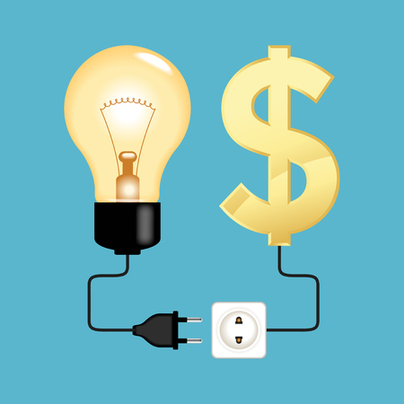 investor: Business idea and investor. Electric plug electric plug connected to a bulb and Dollar icon