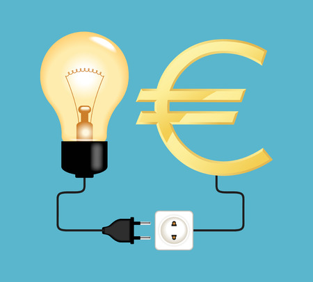 investor: Business idea and investor. Electric plug electric plug connected to a bulb and euro icon