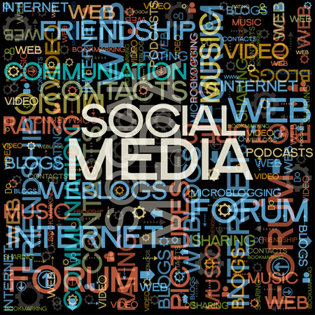 podcasts: background with the words on the topic of social networking Illustration