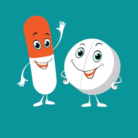 Pastillas de dibujos animados. Grupos de medicamentos