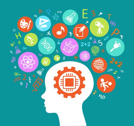Educação de cabeça de criança. As crianças aprendem a pensar. Contorno de cabeça de criança com ícones de educação. Imagem de cor brilhante sobre um fundo preto.