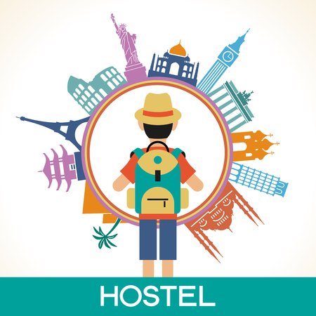 Travel and tourism background. Colorful template with traveler and icons, tourism landmarks. Illustration of flat design travel composition with famous world landmarks. File is saved in 10 EPS version. Illustration