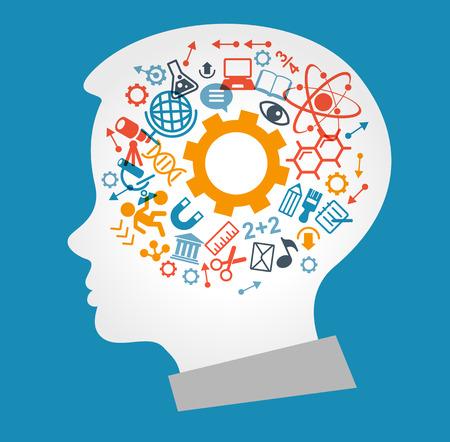 O conceito de educação moderna. Modelo com criança cercada por ícones de ciência e educação. A geração do conhecimento. O arquivo é salvo na versão 10 EPS.