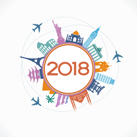 2018 travel and tourism background. Colorful template with icons and tourism landmarks. Creative happy new year 2017 design. New Year background.  File is saved in 10 EPS version. Illustration