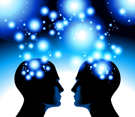 Illustration of the concept of the relationship of a human with the cosmic energy.