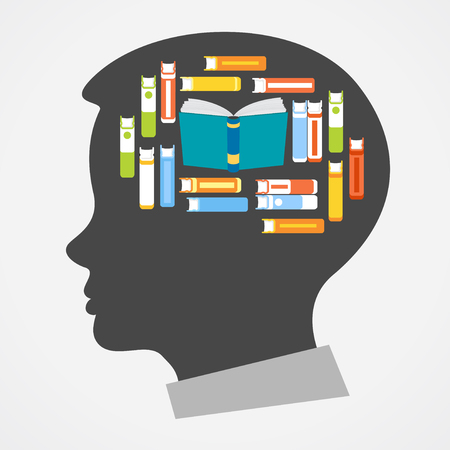 Silhouette of a man's head with images of books forming the shape of the brain
