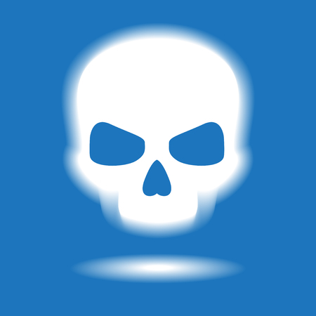Scull icon. White symbol on a blue background. The file is saved in the version AI10 EPS. This image contains transparency.