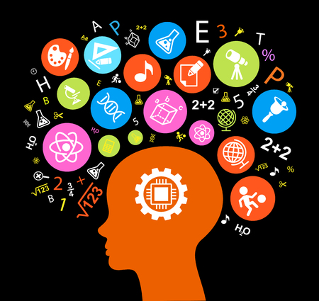 Child Head education.Children Learn to think. Child head outline with education icons. Bright color image on a black background. The file is saved in the version Illustration