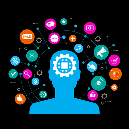 Silhouette of a man head with gears and business icons. Flat design style. Bright color image on a black background. The file is saved in the version AI10 EPS.