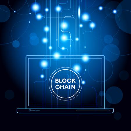 Blockchain network concept vector design template