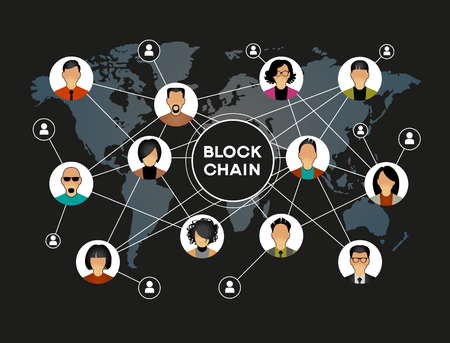 Blockchain network concept , Distributed ledger technology , Block chain text and computer connection.