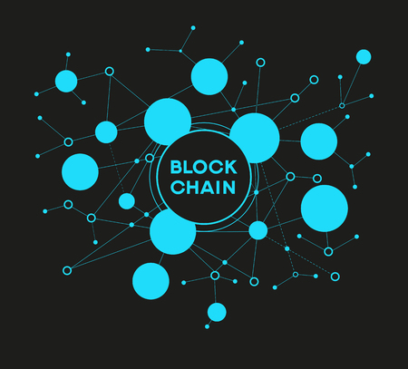 Blockchain network concept , Distributed ledger technology , Block chain text and computer connection. The file is saved in the version AI10 EPS.