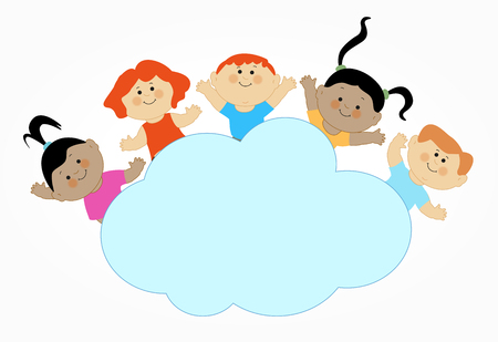 children on a cloud cartoon style vector illustration.