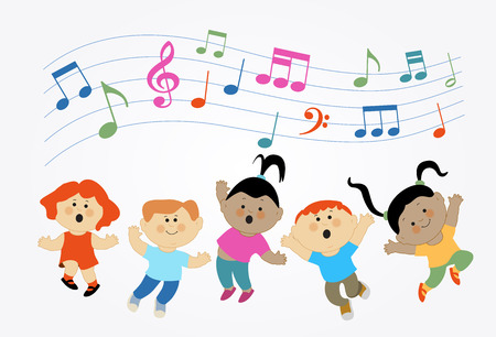 Cartoon children jumping and musical notes. Modern colorful design. Children who are jumping and singing
