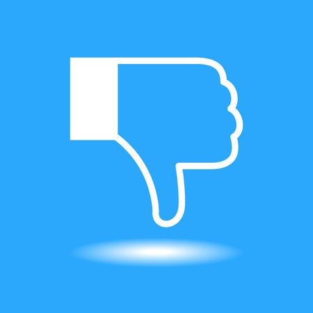 Design thumbs Dislike icon. White icon on blue background