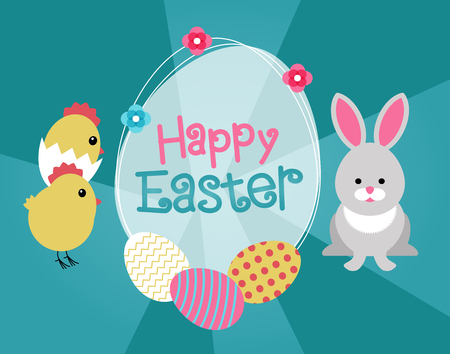 Happy Easter background. Happy Easter design. Rabbit modern design icon. File is saved in AI10 EPS version.