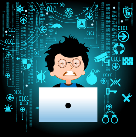 Adolescent and virus in the laptop, danger online. Viruses and hackers. Internet addiction. Comic book vector illustration.