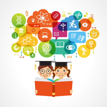 Child education.Children Learn to think. Child outline with education icons.  The file is saved in the version AI10 EPS