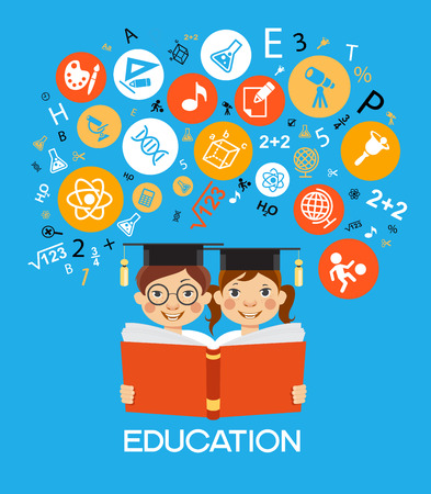 Child education.Children Learn to think. Child outline with education icons. Illustration