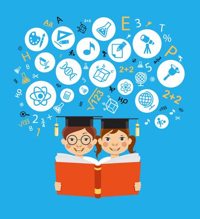 Educación infantil Los niños aprenden a pensar. Esquema infantil con iconos de educación.